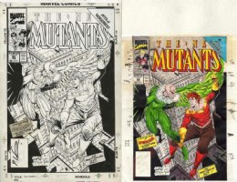 LIEFELD, ROB / TODD McFARLANE - New Mutants #86 cover, 1st by Rob & Cable cameo, Spider-Man #2 homage, Vulture + color art Comic Art
