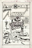 OKSNER, BOB - Action Comics #455 cover, Superman & JLA's Arrow & Atom vs robot 1975 Comic Art