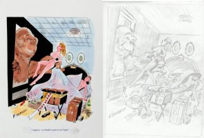 THORNE, FRANK - Playboy painted cartoon + prelim, King Kong grabs newlywed bride  Comic Art
