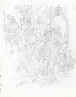 THORNE, FRANK - Playboy Magazine cartoon pencil - King, court & Courtesans Comic Art