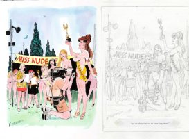 THORNE, FRANK - Playboy painted cartoon + prelim, Miss Nude contest & redhead winner Comic Art