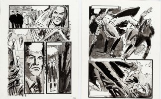 THORNE, FRANK - Vampire Tales Mag. art - Dracula's Hannibal King - pgs 11 & 12 of 12 for unused story,  Night Of The Burmese Bat!   Comic Art