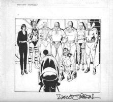 GIBBONS, DAVE - Alan Moore' Watchman - Who's Watchmen 1940s heroes splash - rare full-team shot, Minutemen 1986-1987 Comic Art