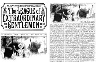 O'NEILL, KEVIN studio - Alan Moore's League of Extraordinary Gentlemen v2 #4 title Splash + Prod pg -- Mina & Quatermain meet Babar the Elephant  2003 Comic Art