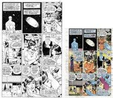 GIBBONS, DAVE - Alan Moore's Watchman #4 art pg 11 + color art pg - origin Dr Manhattan Comic Art