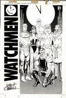 GIBBONS, DAVE - Alan Moore' Watchman - Who's Watchmen team splash - rare full-team group shot, 1986-1987 Comic Art