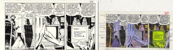 GIBBONS, DAVE - Watchmen #11 pg 20, ink detail w/ color art, Rorschach & Nite-Owl in all panels! recap case & break password - includes color art! Comic Art