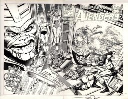 SIMONSON, WALT - Avengers: Kree/ Skrull War #1 double wrap cover, Capt Marvel vs Super Skrull signed 1983 Comic Art