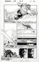 SIMONSON, WALT & SCOTT HANNA - Avengers #28 pg, Hulk leaps Comic Art
