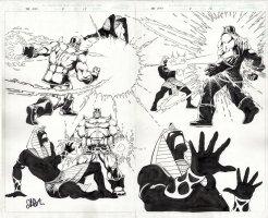 STARLIN, JIM - Marvel Universe: The End #4 double Splash, Thanos beats Akhenaten 2003 Comic Art