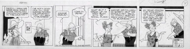 MCMANUS, GEO - Bringing Up Father daily 8/7 1941 Comic Art