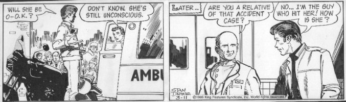 DRAKE, STAN - Juliet Jones daily 3/11 1986, accident, ambulance Comic Art