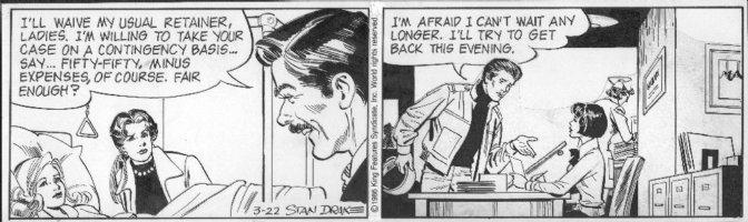 DRAKE, STAN - Juliet Jones daily 3/22 1986, Juliet, Eve in hospital bed Comic Art