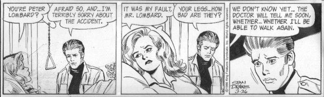 DRAKE, STAN - Juliet Jones daily 3/26 1986, Eve in hospital bed, unable to walk? Comic Art