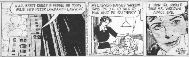 DRAKE, STAN - Juliet Jones daily 4/28 1986, Juliet, Eve in hospital bed Comic Art