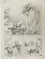 PLOOG, MIKE - Marvel Preview #15 Weirdworld unpublished pencil splashy pg, Tyndall vs dragon Comic Art