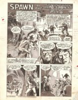 PLOOG, MIKE - Planet of The Apes #3 ink & wash large Title Splash -  Spawn of the Mutant Pits  Comic Art