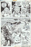 PLOOG, MIKE - Manthing #9 semi-splash pg 3, very large Manthing & swamp-folk, signed Comic Art