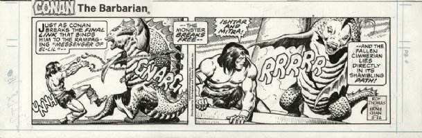 CHAN, ERNIE - Conan The Barbarian daily, 2 panels, Conan vs Dragon 5/22 1979 Comic Art
