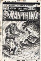 BRUNNER, FRANK - Fear #15 cover Man-Thing + Sorceress Jennifer Kale vs cult Demon - by Steve Gerber Comic Art