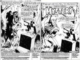 GOLDEN, MICHAEL - House of Mystery #266 pg 1 splash, Horror Host Eve & raven + Cain prod splash Comic Art