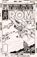 GOLDEN, MIKE - Rom #10 cover - classic Rom vs Air Force over DC capital (pre-Nam) 1980 Comic Art