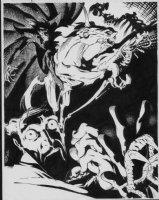 GOLDEN, MIKE P/I - Dr Strange Portfolio plate #6 artwork - Doc & Nightmare 1983 Comic Art