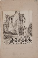 COX, PALMER -  The Brownies Abroad  book illustration, Brownies at ruins, 1899 Comic Art