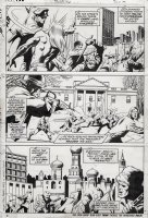 MAYERIK, VAL - Fear #15 pg 2, Man-Thing story. Chaos around the world Comic Art