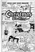 DECARLO, DAN - Archie Giant #524 2-up cover, main 4 characters, Christmas & Santa rocket Comic Art