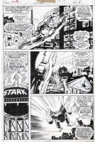 TRIMPE, HERB / SEVERIN - Ironman #85 pg 15, Iron Man flies, explains getting fid of nose Comic Art
