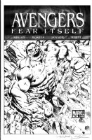 DAVIS, ALAN - Avengers #14 Fear Itself cover, Hulk featured + bonus full pencil prelim Comic Art