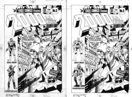 DAVIS, ALAN - 2000 AD #3 cover #3 US cover, Alan Moore' DR & Quinch Judge Dredd Strontium Dog - all hand-drawn by Davis + overlay Comic Art