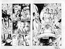 DAVIS, ALAN - Alan Moore' Captain Britain: Marvel UK funeral double-splash Comic Art