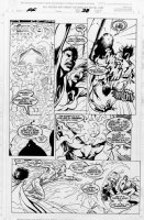 DAVIS, ALAN / Mark Farmer - Fantastic Four #1 pg 38, team fights villain Comic Art