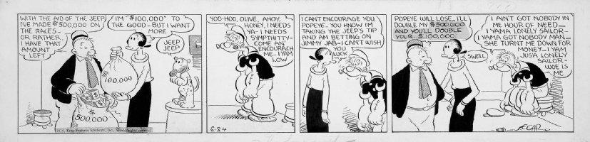 SEGAR, EC - Popeye daily 6/24 1936 - the Jeep & Popeye betrayed by Olive & Wimpy Comic Art