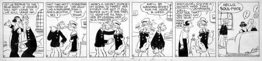 SEGAR, E C - Popeye daily 11/29 1932, Popeye & flapper gal Comic Art