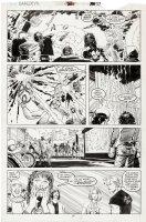 ROMITA JR, JOHN / AL WILLIAMSON - Daredevil # 261 pg 27, Human Torch battles biker bar Comic Art