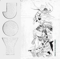 JURGENS, DAN / GIORDANO - DC Office X-mas card art, Superman, Batman, Wonder Woman, Lobo 1991 Comic Art