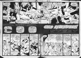 JURGENS, DAN - Booster Gold #2 double splash pg 2-3, 1986 Comic Art