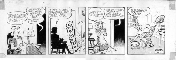 MONTANA, BOB - Archie daily 8/11 1948, early example, Archie breaks dishes Comic Art