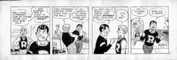 MONTANA, BOB - Archie daily 11/1 1948, early example, Reggie hits Archie Comic Art