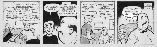 MONTANA, BOB - Archie daily 7/2, Archie talking to Dad for color TV Comic Art