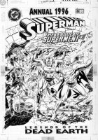 ORDWAY, JERRY - Superman Annual #8 cover, five Superman appearances on 1 cover! 1996 Comic Art