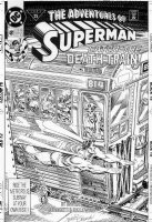 ORDWAY, JERRY - Adventures of Superman #481 cover, Superman, Horror art- death Train & undead + Luthor headline Comic Art