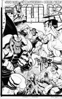 ADAMS, ART - Hulk #10 large cover, Hulk plus Defenders: Surfer, Subby, Doc with logo on overlay Comic Art