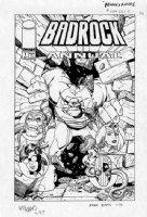 ADAMS, ART - Badrock #1 larger cover art - with Savage Dragon cast Comic Art