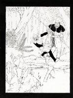 CHAYKIN, HOWARD - Robin Hood Portfolio Plate #1 Robin vs Little John 1978 Comic Art
