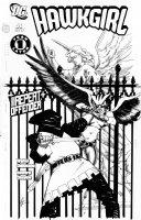 CHAYKIN, HOWARD - Hawkgirl #51 cover; Hawkgirl battles in front of statue Comic Art
