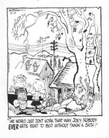 KETCHAM, HANK - Dennis the Menace daily, 10/13 1970s, Dennis, Joey in neighborhood, giant tree Comic Art